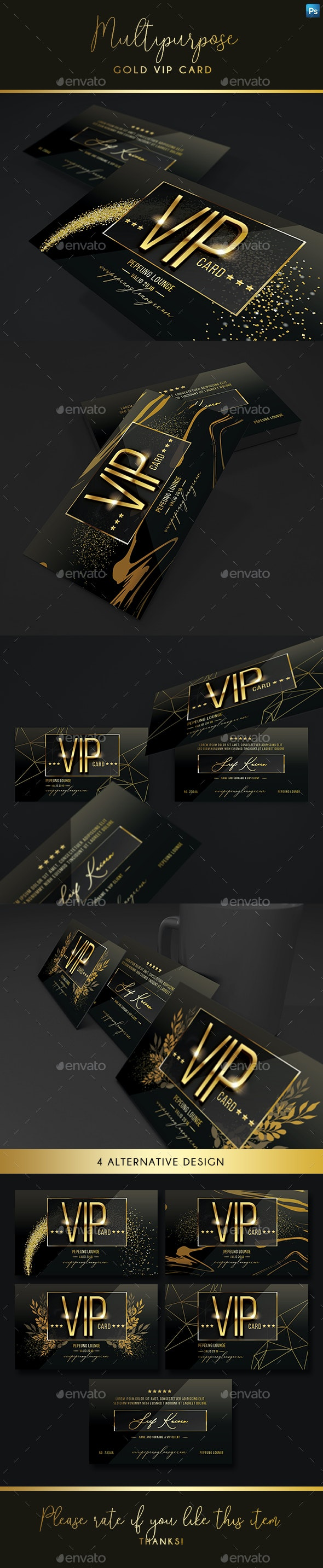 Multipurpose Gold Vip Card - Business Cards Print Templates