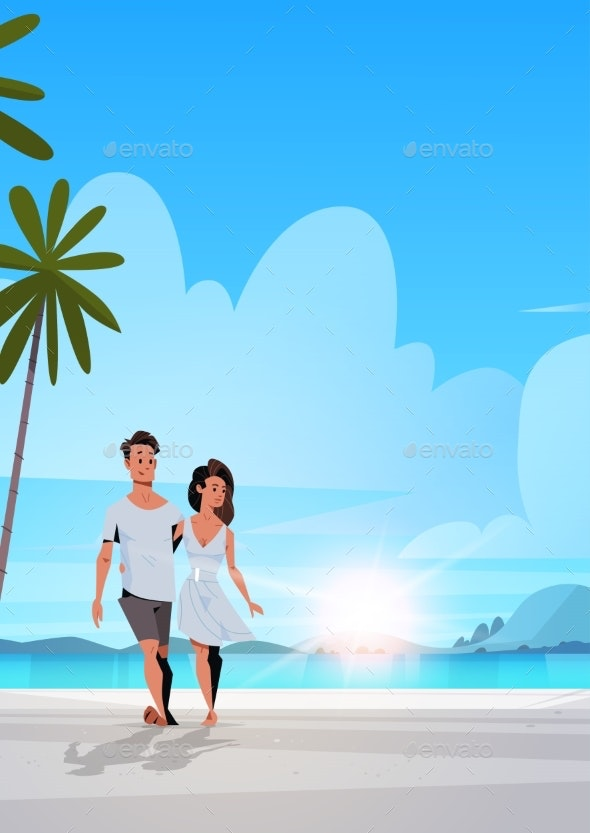 Couple in Love Man Woman Embracing on Tropical - People Characters