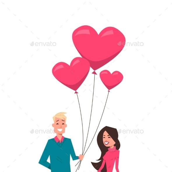 Man Giving Woman Pink Heart Shape Air Balloons