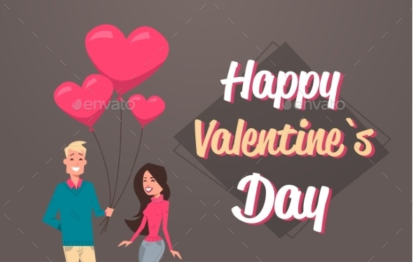 Man Giving Woman Pink Heart Shape Air Balloons - People Characters