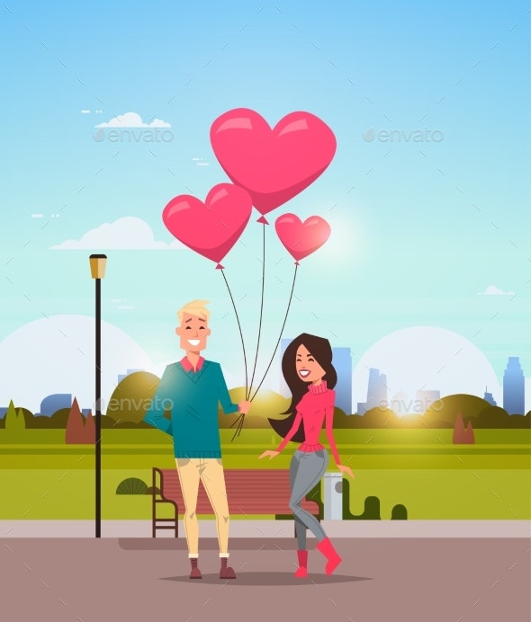 Man Giving Woman Pink Heart Shape Air Balloons - Landscapes Nature