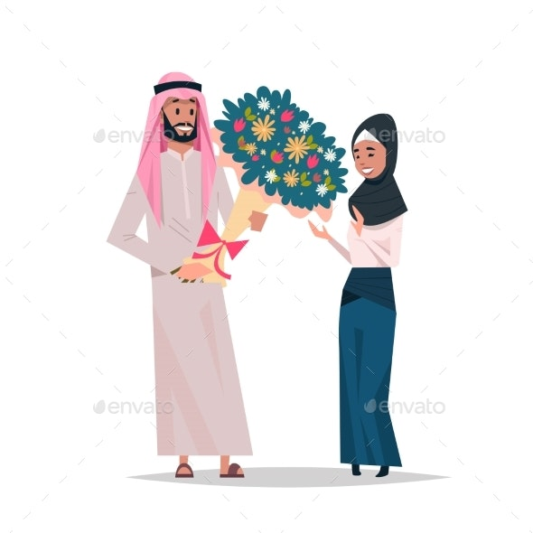 Arab Man Present Woman Bouquet of Flowers Happy - People Characters