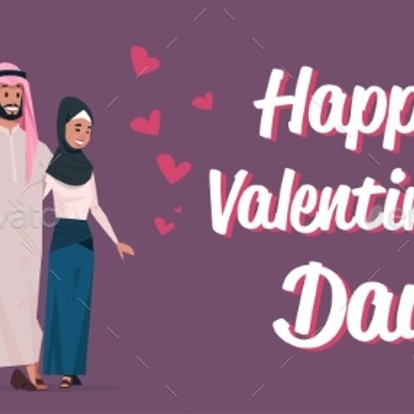 Arabic Couple in Love Happy Valentines Day Concept