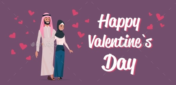 Arabic Couple in Love Happy Valentines Day Concept - People Characters