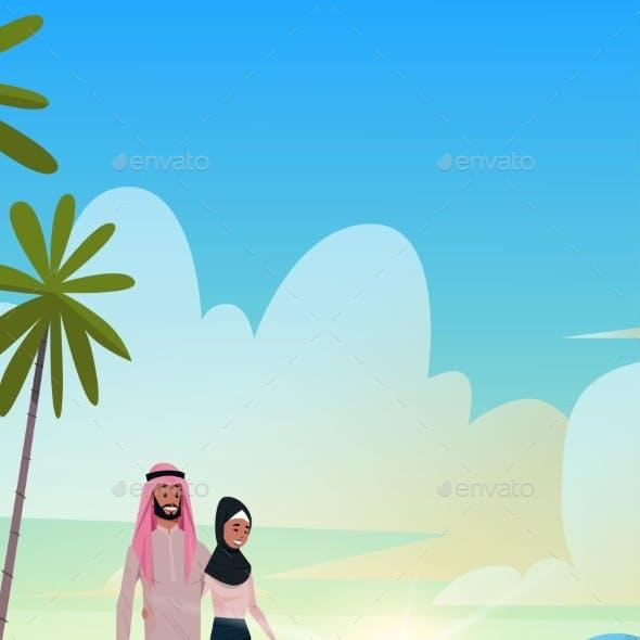 Arabic Couple in Love Arab Man Woman Embracing on