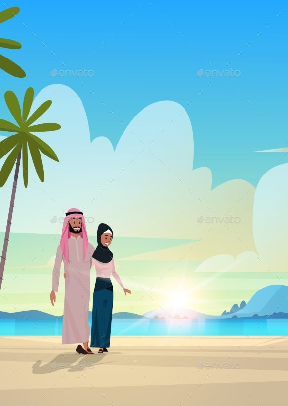 Arabic Couple in Love Arab Man Woman Embracing on - People Characters