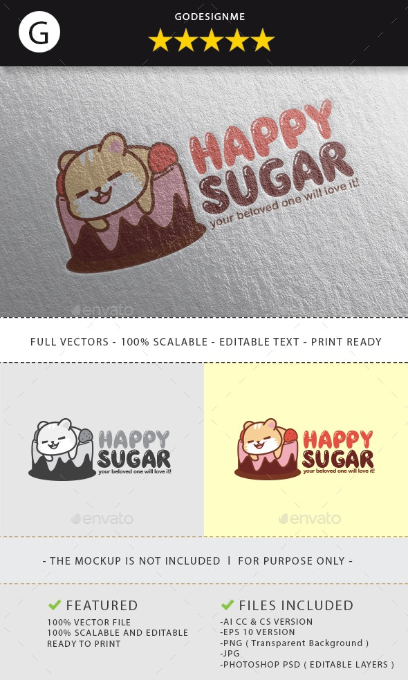 Happy Sugar Logo Design - Vector Abstract