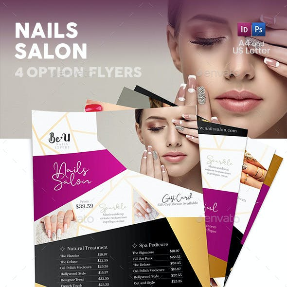 Nails Salon Flyers 2 – 4 Options