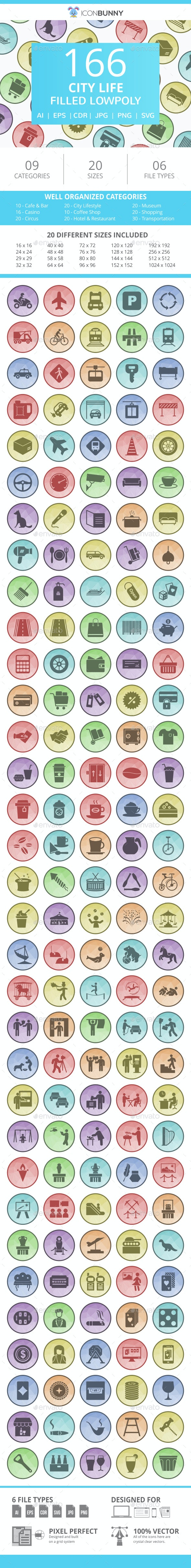 166 City Life Filled Low Poly Icons - Icons