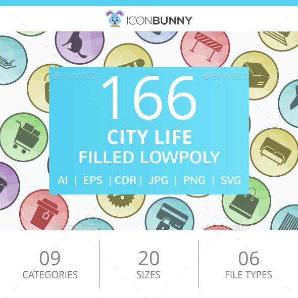 166 City Life Filled Low Poly Icons