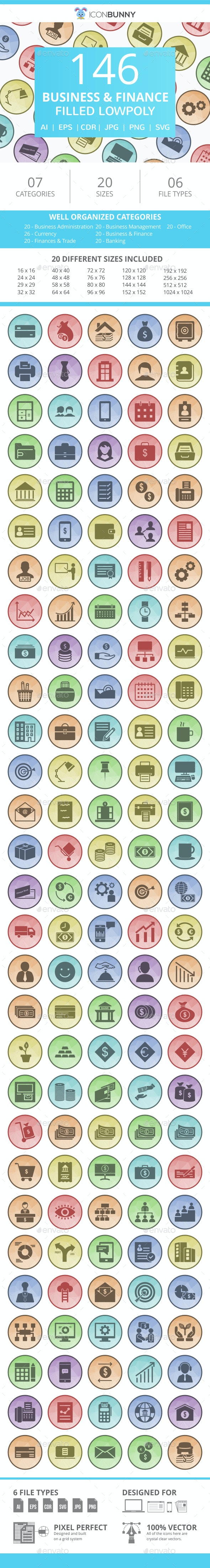 146 Business & Finance Filled Low Poly Icons - Icons