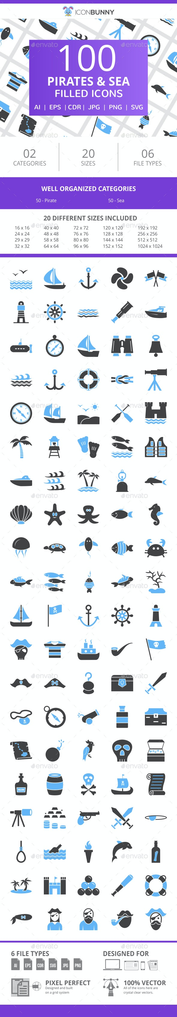 100 Pirate & Sea Filled Blue & Black Icons - Icons