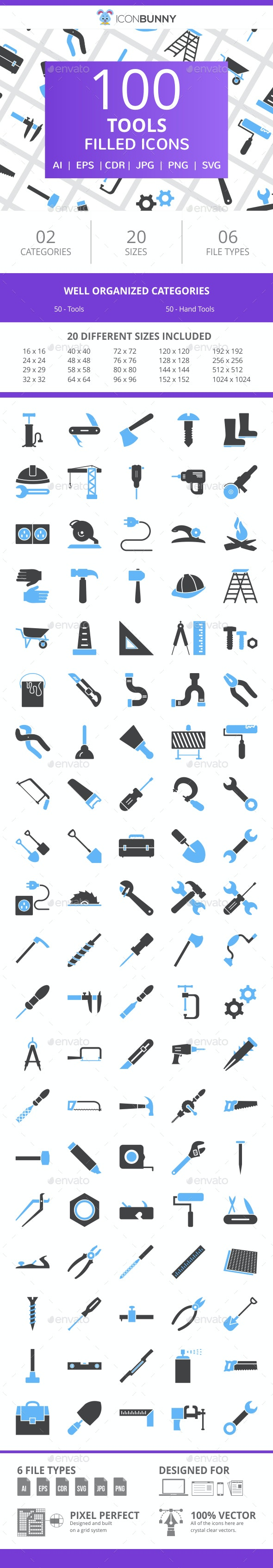 100 Tools Filled Blue & Black Icons - Icons