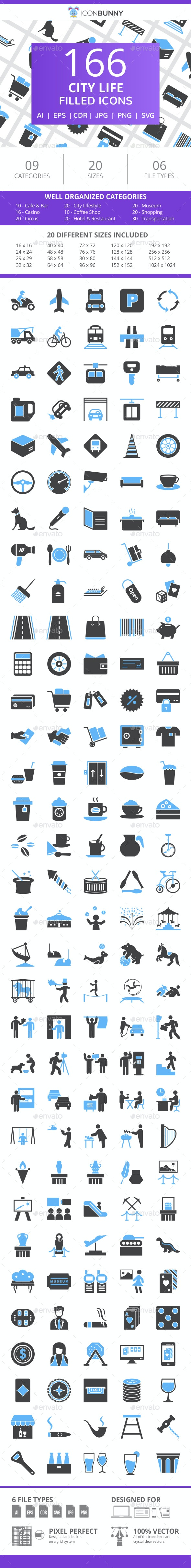 166 City Life Filled Blue & Black Icons - Icons