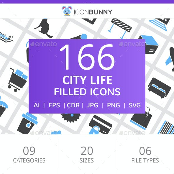 166 City Life Filled Blue & Black Icons