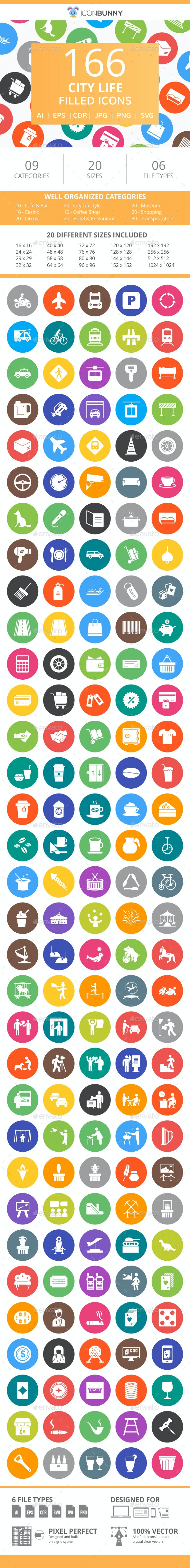 166 City Life Filled Round Icons - Icons