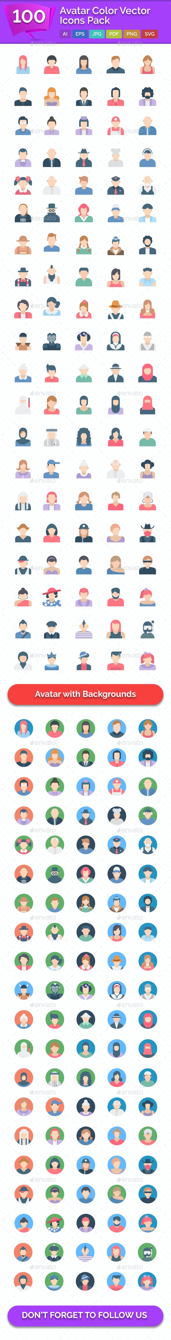 100 Avatar Color Vector Icons Pack - Icons