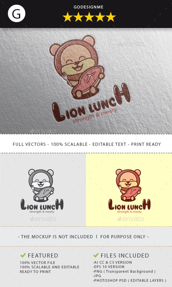 Lion Lunch Logo Design - Vector Abstract