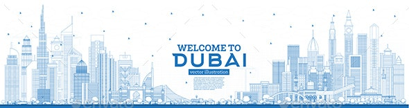 Outline Welcome to Dubai UAE Skyline with Blue Buildings. - Buildings Objects