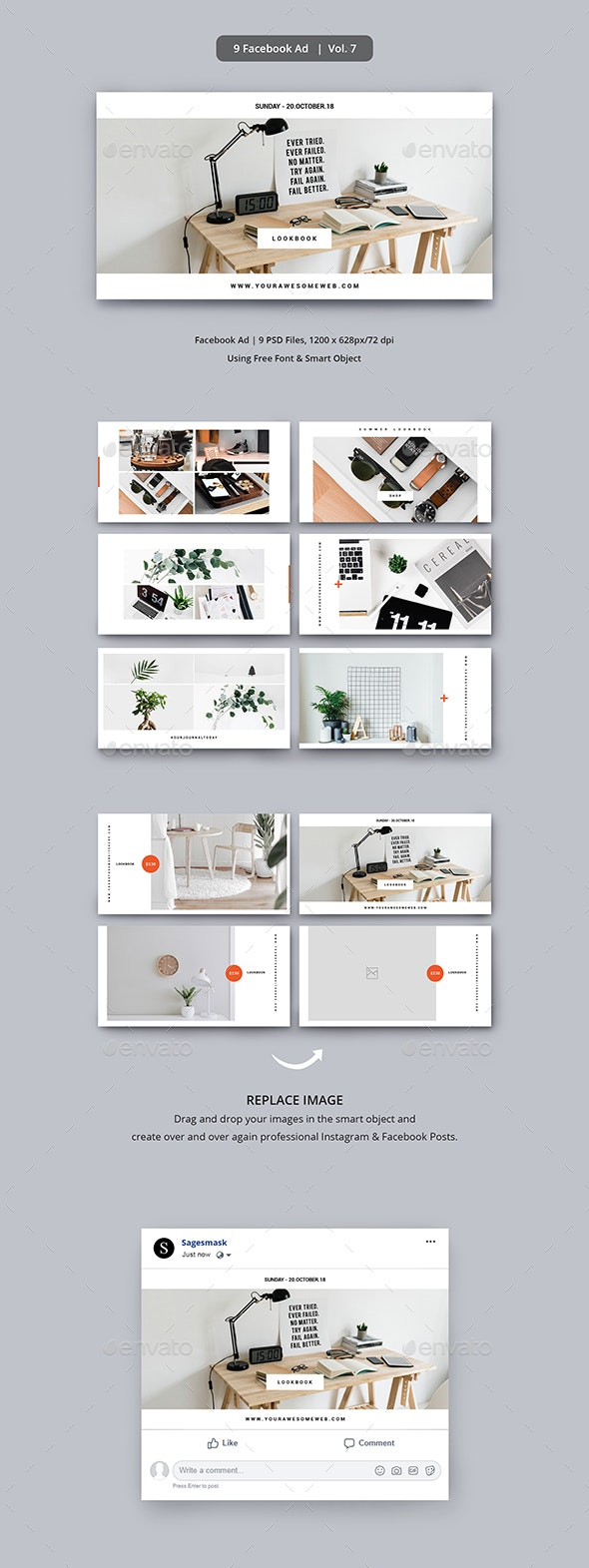 Facebook Ad Vol. 7 - Social Media Web Elements