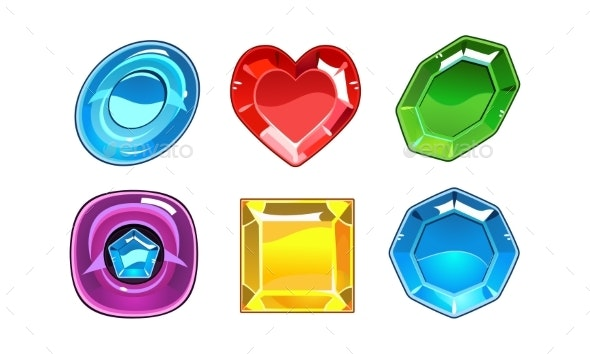 Vector Set of 6 Glossy Gemstones - Abstract Conceptual