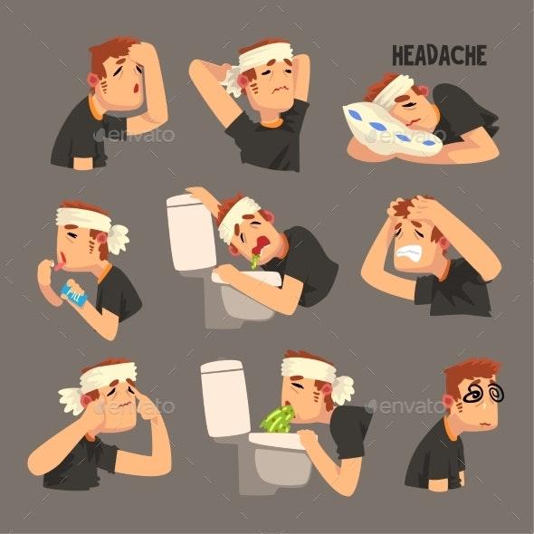 Sick Man with a Bandaged Head - Health/Medicine Conceptual