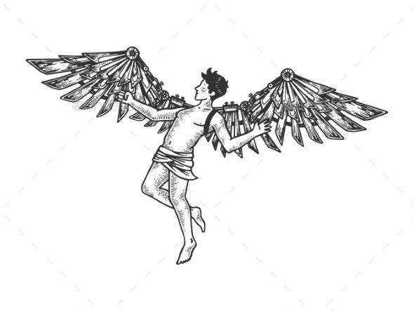 Icarus Greek Mythology Engraving Vector - People Characters