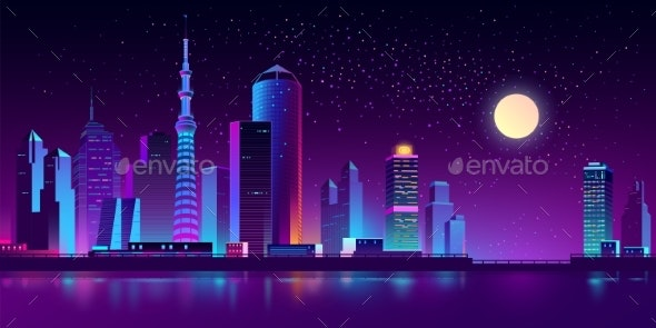 Vector Neon Megapolis on River at Night - Buildings Objects