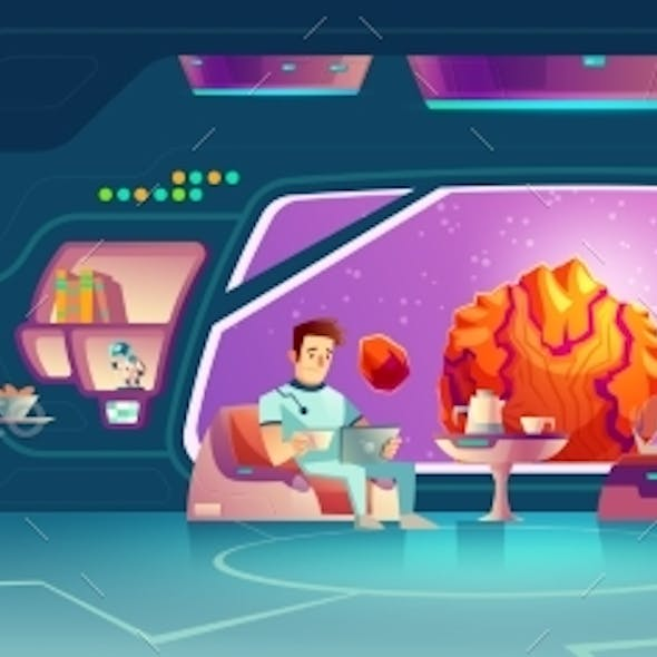 Space Hotel Clients Resting in Room Cartoon Vector