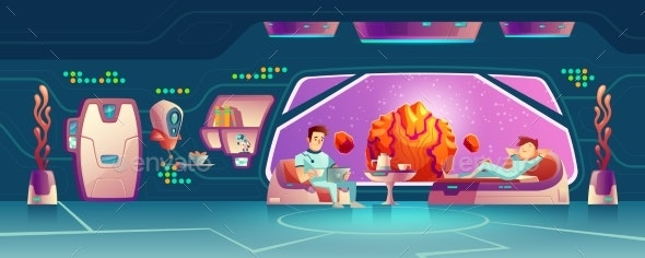 Space Hotel Clients Resting in Room Cartoon Vector - Travel Conceptual