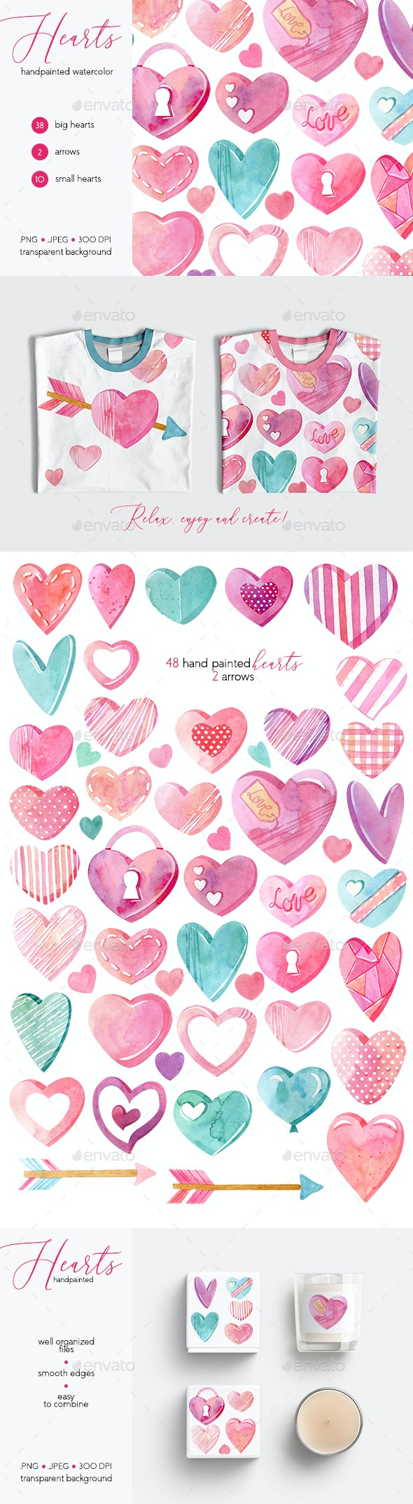 Watercolor Hearts Collection - Objects Illustrations