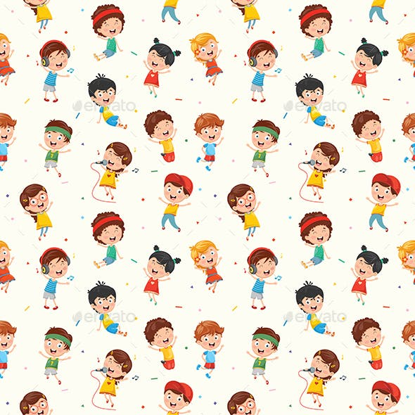 Seamless Pattern of Kids