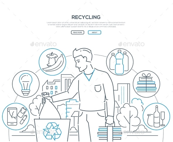 Recycling - Modern Line Design Style Web Banner - Miscellaneous Vectors