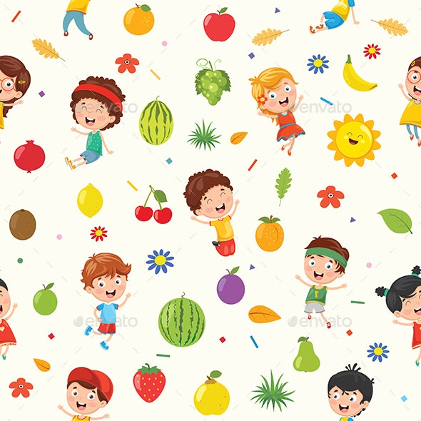 Seamless Pattern of Kids and Nature Elements - Backgrounds Decorative