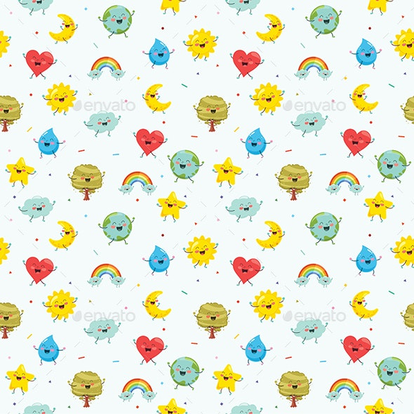 Seamless Pattern of Nature Elements - Backgrounds Decorative