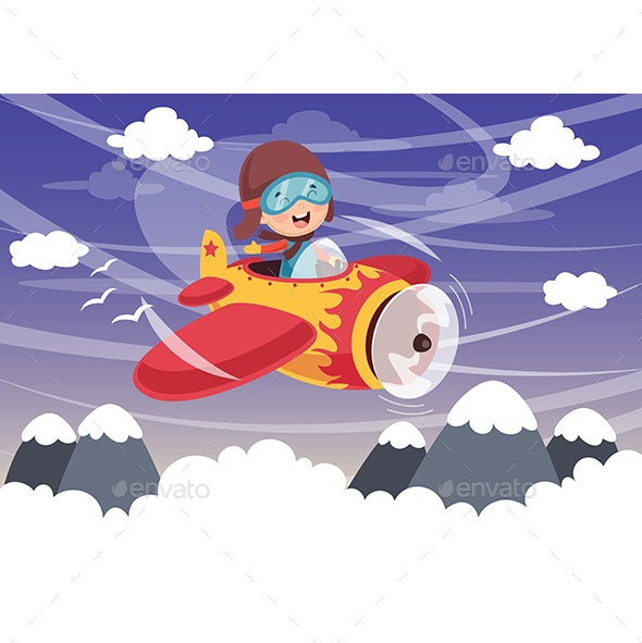 Vector Illustration of Kid Operating Plane - Travel Conceptual