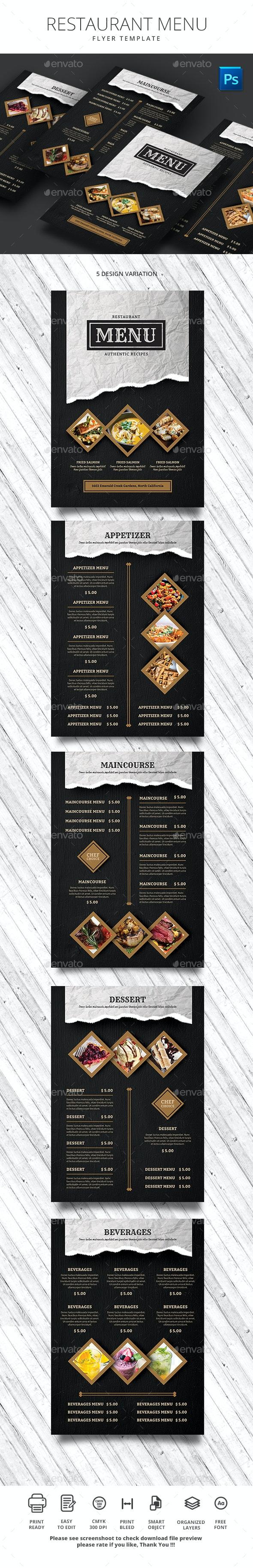 Restaurant Menu - Food Menus Print Templates
