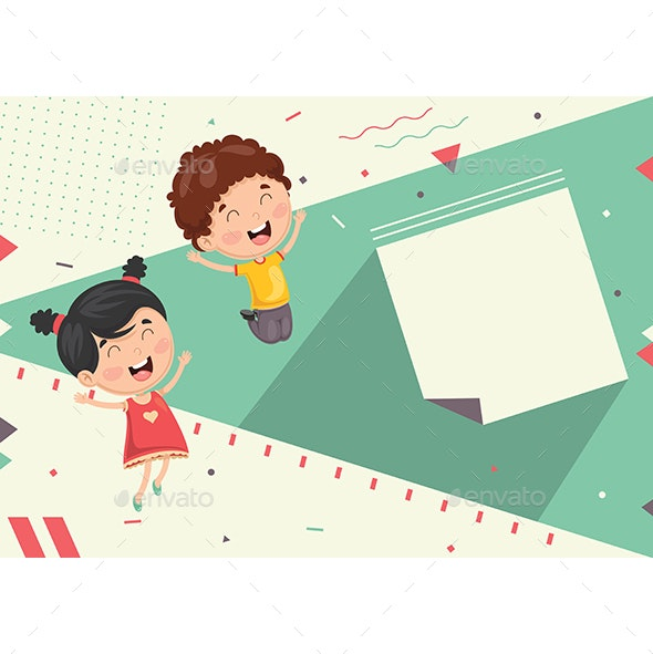 Vector Illustration of Kids Abstract Background - Backgrounds Decorative