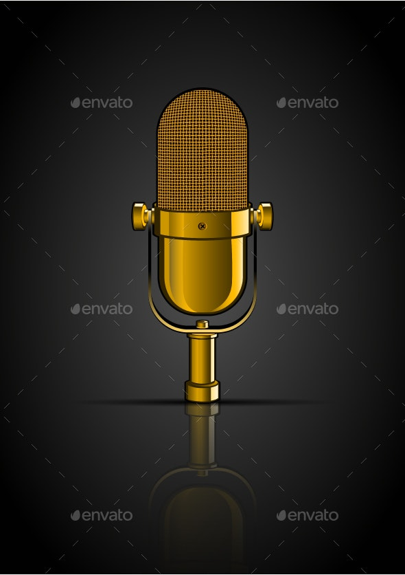 Background with Golden Microphone - Man-made Objects Objects