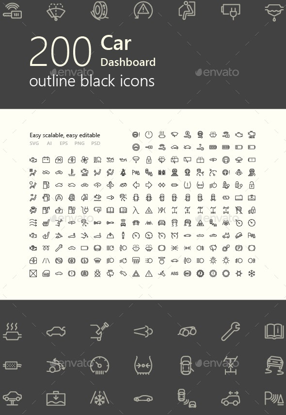 Car Dashboard Outline Icons - Objects Icons