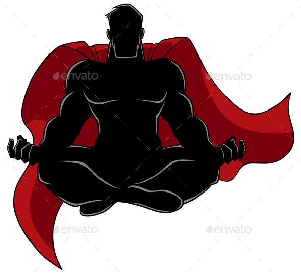 Superhero Meditating Silhouette - People Characters