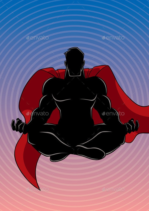 Superhero Meditating Background Silhouette - People Characters