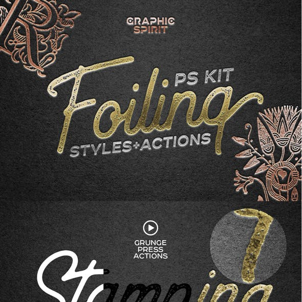 Foil Stamp Photoshop Styles+Actions
