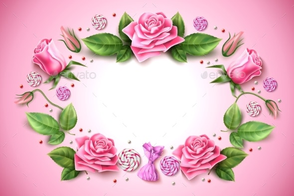Vector Tulip Rose Peony Flower on Pink - Flowers & Plants Nature