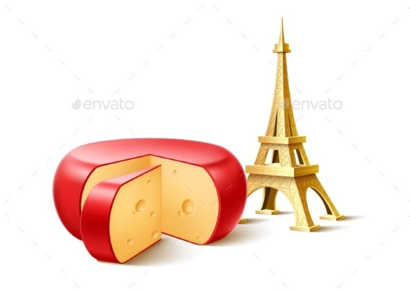 Vector Eiffel Tower French Cheese Wedge Set