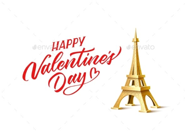 Vector Valentines Day Eiffel Tower and Calligraphy