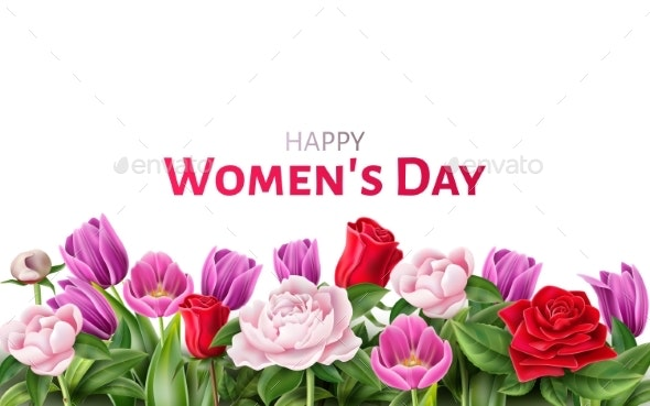 Vector Woman Day 8th of March Roses - Miscellaneous Seasons/Holidays