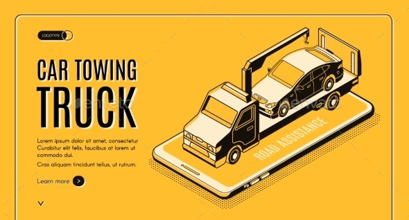 Car Towing Service App Isometric Vector Website - Industries Business