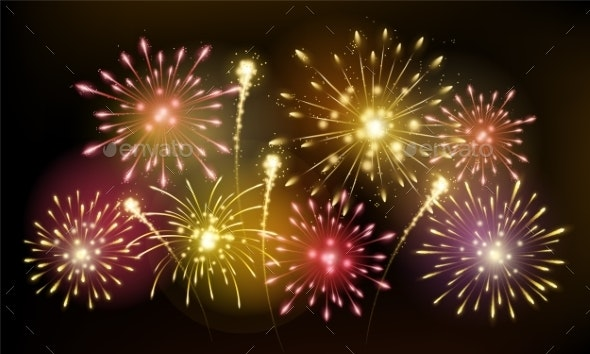 Bright Colorful Fireworks - Miscellaneous Seasons/Holidays