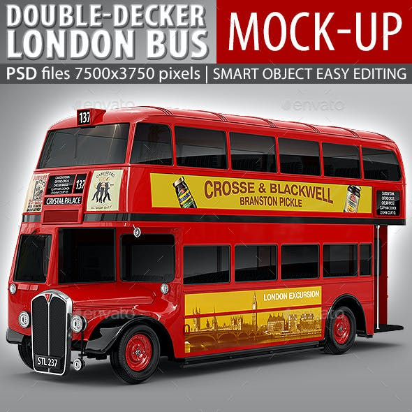 London Double-Decker Bus, Red Coach Mock-up